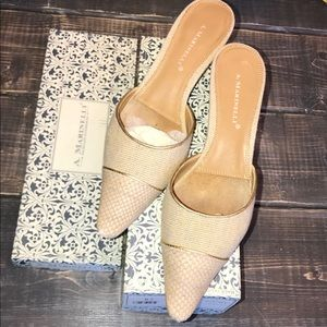 A. Marinelli Tan/Gold Slip-on heels pumps size 9